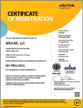 ISO 9001-2008 Certificate of Registration<br>MOCAP Park Hills, MO and Farmington, MO<br>(139kb)